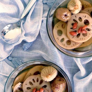 Lotus Root Sweet Soup With Figs and Honey Dates