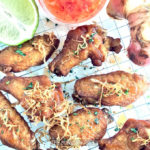 Blue Ginger Fried Chicken Wings: These ultra juicy, flavour-packed chicken wings are marinated overnight in freshly extracted blue ginger juice, then fried to golden perfection. Top with cilantro, chilli flakes and Thai sweet chilli dressing, and serve piping hot!