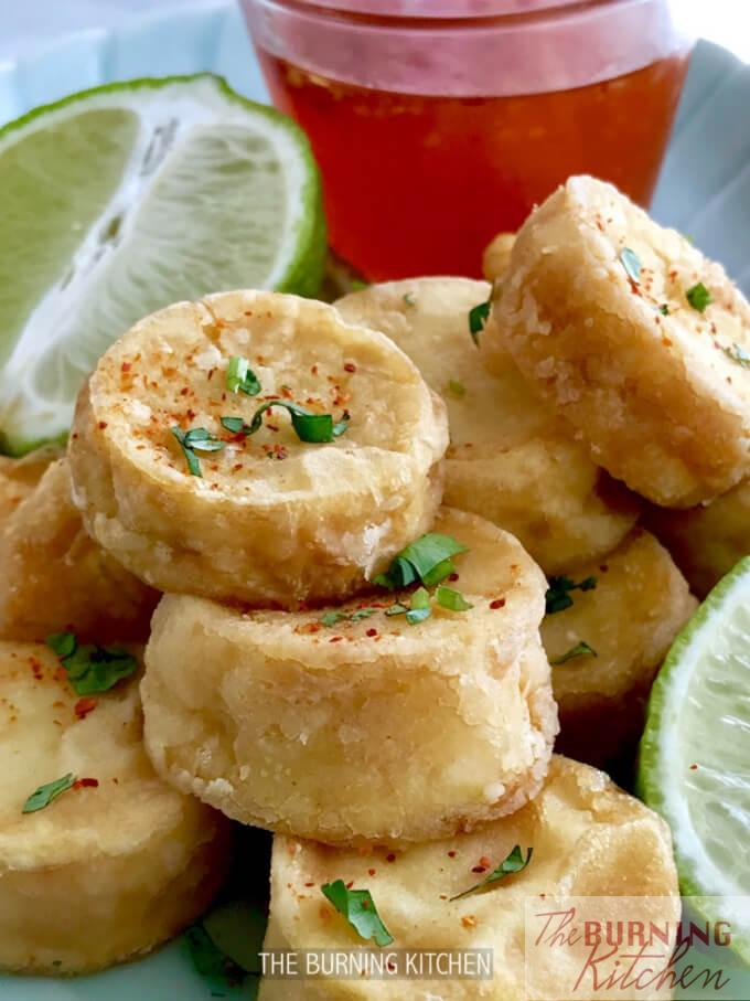 Crispy Egg Tofu with Thai Sweet Chilli Sauce: You can make this super delicious, easy finger food in 15 minutes with just 5 ingredients! The outcome: Crusty golden outside, silken smooth inside - So good, you can even eat it on its own!