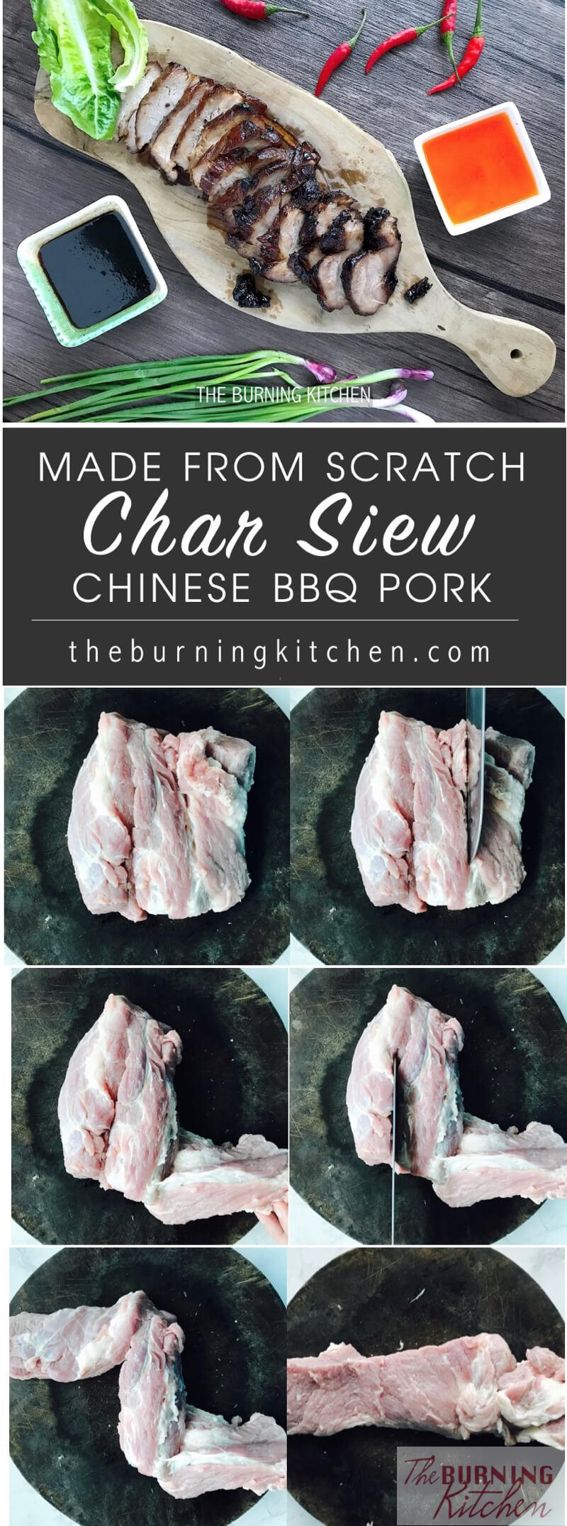 Sticky Chinese BBQ Pork (Char Siew): This is Mum's Char Siew recipe with no MSG and no food colouring. Look how juicy and succulent the Char Siew is! My absolute favourite are the little sticky glazed bits with a slightly charred, smoky flavour. Simply heavenly...