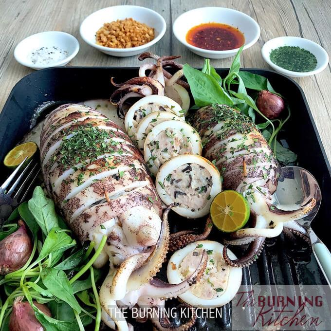 Tender Steam-Grilled Stuffed Squid: The steam-grill method gives you the best of both worlds - the extra moisture and flavour infusion from steaming, and the smoky bbq flavours from grilling! This delicious squid dish is literally packed with surprises inside out!