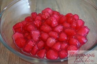 Thai Red Ruby in Fresh Coconut Milk (Tub Tim Grob): If you love Thai desserts like Mango Sticky Rice, you will probably love this refreshing and and vibrantly coloured dessert with its ruby-hued crunchy water chestnuts coated in tapioca jelly, swimming in a soup of freshly squeezed coconut milk. We like to call this the Thai version of bubur cha cha!