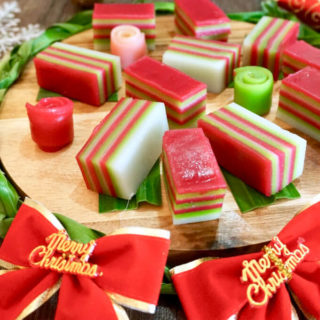 Kueh Lapis (Nine-Layer Cake / Jiu Ceng Gao):This delicious kueh is distinctive for having 9 vibrantly-coloured layers, and never fails to put a smile on my face. After all, who can forget having these as a child, peeling off the layers one by one and slowly savouring each soft, springy layer of coconut-y goodness!