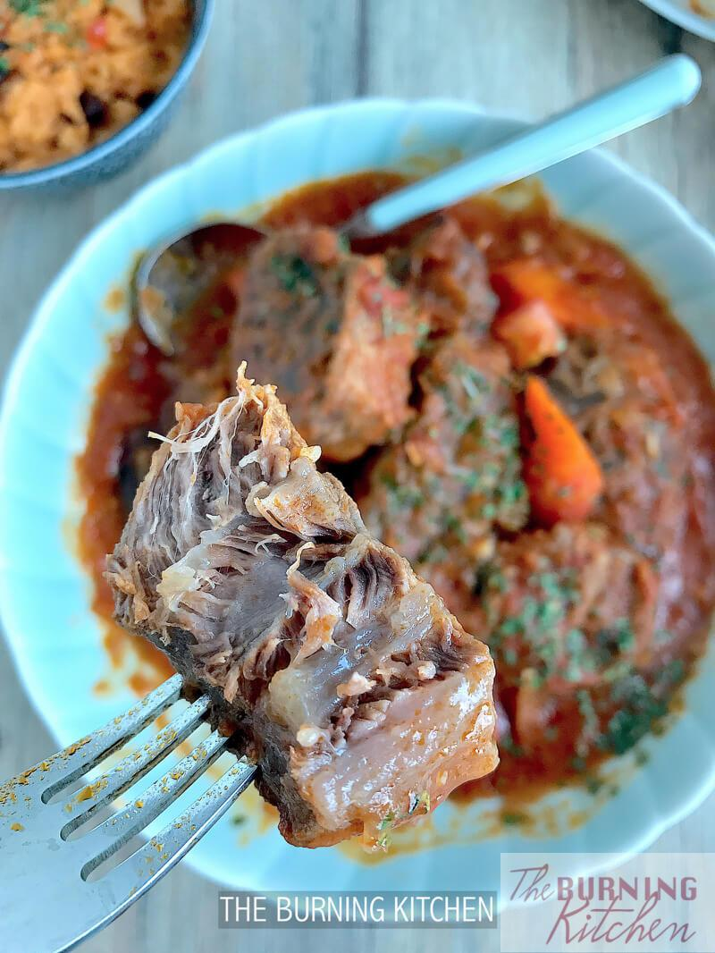 Slow-cooked Mexican Beef Stew Recipe: Chunky beef tendon slow-cooked in a hearty tomato-based gravy for 4 hours until the meat is so tender and succulent that it almost melts in your mouth.