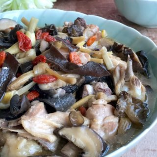 One-Pot Steamed Black Fungus Chicken with Chinese Wine: A typical and well-loved Cantonese 'yat wok sook' (translated: cooked in one pot) and popular confinement food after childbirth!