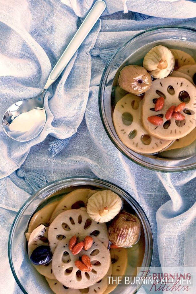 Lotus Root Sweet Soup with Figs in two bowls