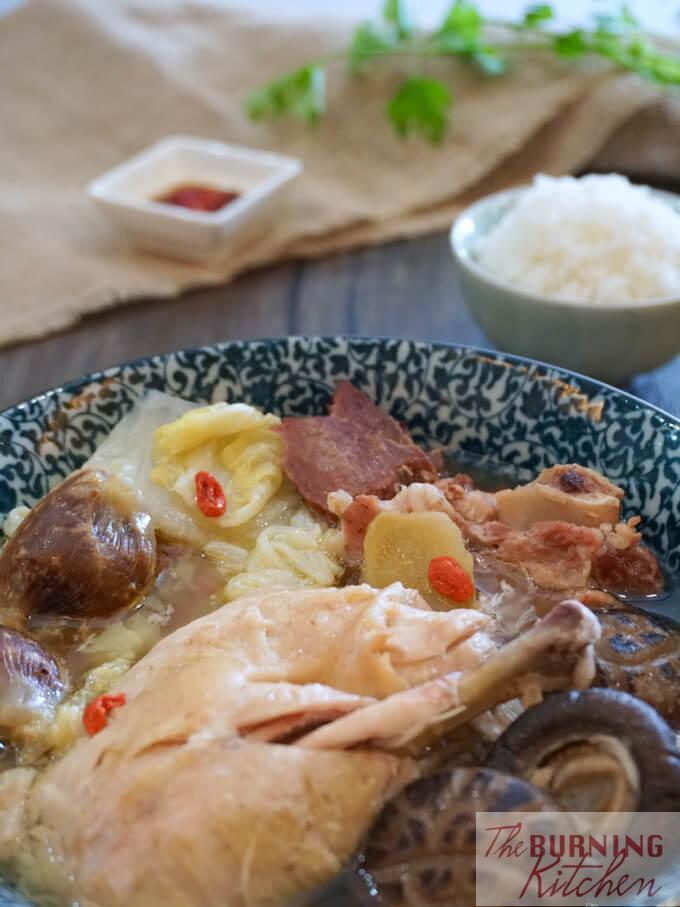 Napa Cabbage / Wongbok Chicken Soup: This simple and healthy one-pot dish boasts rich umami flavours due to the addition of dried Chinese mushrooms, Chinese ham and preserved duck gizzards, and goes perfectly with just a bowl of steaming hot jasmine rice as a complete meal.