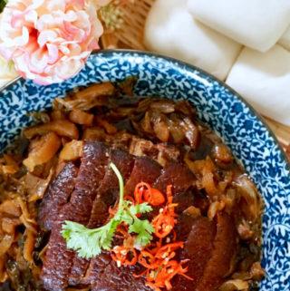 Braised Pork Belly with Sweet Preserved Mustard Vegetable (Mei Cai Kou Rou)