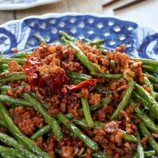 Sichuan Dry Fried Green Beans with Chai Por (Gan Bian Si Ji Dou)